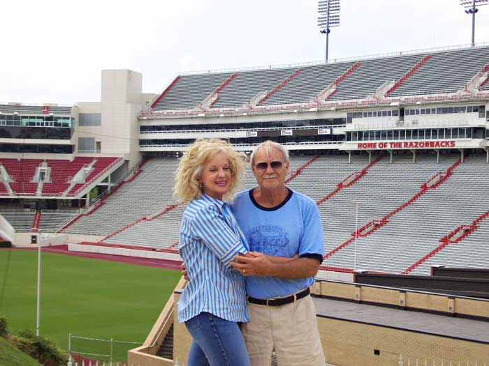 Jerry and Gail at University of Arkansas football stadium